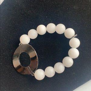Marlyn Schiff White Beaded Silver Circle Bracelet